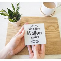 Personalised Glass Mr And Mrs Wedding Coaster
