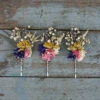 Festival Meadow Dried Flower Hair Grips Set Of Five