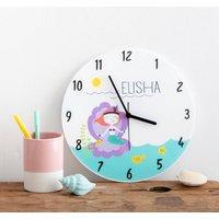 Girl's Bedroom Mermaid Theme Personalised Clock Gift