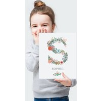 Floral Initial Letter Personalised Name Print