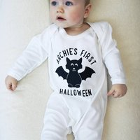 Personalised First Halloween Baby Sleepsuit, White/Black