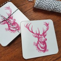 Set Of Four Stag Coasters
