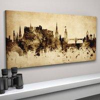 Edinburgh Skyline Cityscape Vintage Art Print