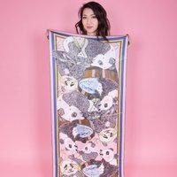 Ladies Panda Print Shawl Silk Scarf, Blue/Pink