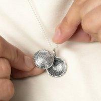 Silver Mandala Fingerprint Locket Necklace, Silver