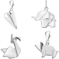 Selection Of Sterling Silver Origami Charms, Silver