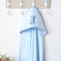 Personalised Baby Blue Hooded Towel With Monogram