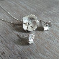 Flower Necklace And Stud Silver Jewellery Set, Silver