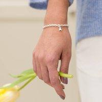 Silver Initial Letter Charm Bracelet, Silver
