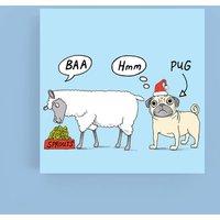'Baa Hmm Pug' Christmas Cards