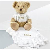 Personalised Bernard Bear And Crochet Blanket