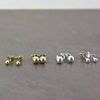 Petite Gold Filled And Silver Ball Stud Earrings, Silver