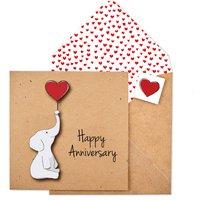Handmade Happy Anniversary Cute Elephant Card