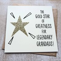 Gold Star For Legendary Grandads Father's Day Card