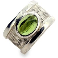 Sterling Silver Peridot Drum Ring, Silver