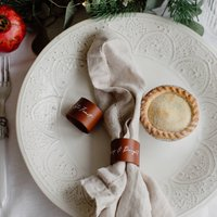 Set Of Two Personalised Leather Napkin Rings