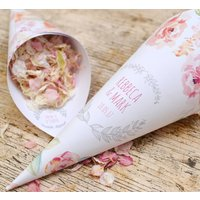 Cottage Garden Personalised Wedding Cones With Confetti