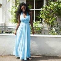 Floor Length Halterneck Bridesmaid Or Prom Dress, Bright Pink/Pink/Coral