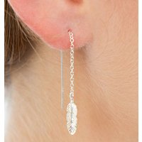 Silver Feather Threader Earrings, Silver