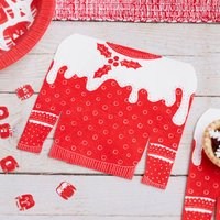 Red And White Christmas Jumper Shaped Napkins