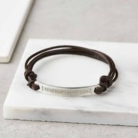 Personalised Sterling Silver And Leather Bracelet, Silver