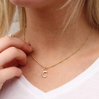 18ct Gold Satellite Chain Initial Necklace, Gold