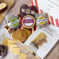 Luxury Cheese And Biscuits By Post Hamper, Red/Green/Brown