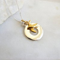 Personalised Silver Circle And Gold Swallow Necklace, Silver