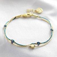Star Bead Double Strand Bracelet In Silver, Silver