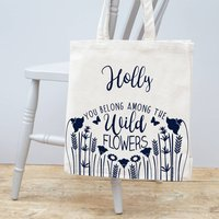 Personalised Floral Canvas Bag, Gold/Silver Pink/Silver