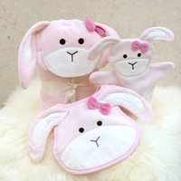 Personalised Pink Bow Bunny Baby Towel Gift Set, Pink