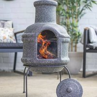 Clay Stone Effect Chiminea With Stand And Lid