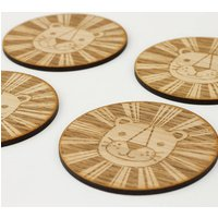 Wooden Lion Big Cat Coasters