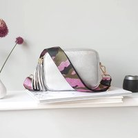 Silver Leather Handbag With Interchangeable Strap