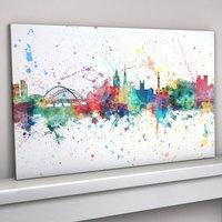 Newcastle Skyline Cityscape Paint Splashes Print