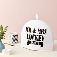 Personalised Mr And Mrs Tea Cosy Various Colours, Black/Yellow/Fern Green