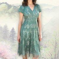 Aqua Shimmer Lace Tea Dress