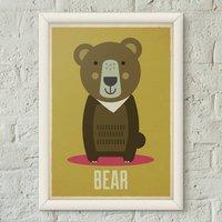 Bear Kids Retro Animal Nursery Print Poster