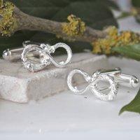 Silver Infinity Twig Cufflinks, Silver