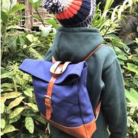 Mini Kids Canvas And Leather Rolltop Backpack