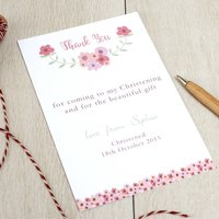 Personalised Floral Christening Thank You Cards, Pink/Blue/Green