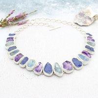 Tanzanite, Rainbow Moonstone And Amethyst Necklace