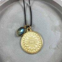 Mandala Engraved Disc Necklace