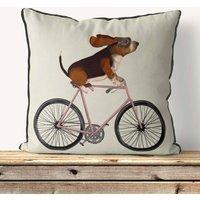 Basset Hound On Bicycle Decorative Cushion