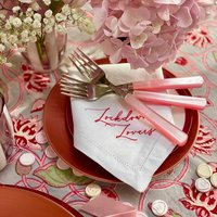 Personalised Calligraphy Linen Napkin Up To Four Words