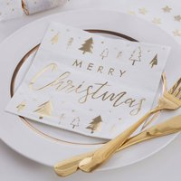Gold Foiled Merry Christmas Paper Napkins