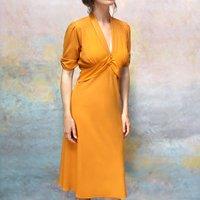 Elegant Midi Length Tea Dress In Saffron Crepe