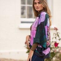 Hydrangea Lightweight Viscose Kimono Top