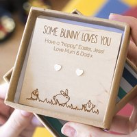 Easter 'Some Bunny Loves You' Heart Stud Earrings