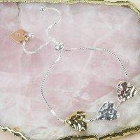 Personalised Mixed Metal Hammered Heart Bead Bracelet